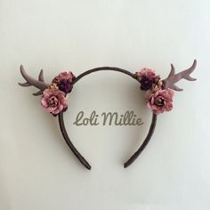 Fall Collection - Spiced Plum Antler Headband - Autumn Kawaii Mori Kei Woodland Sweet Lolita Rave Faerie Larp Fawn Deer Antlers