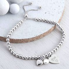 Personalised Sterling Silver Ball Slider Bracelet - bracelets & bangles