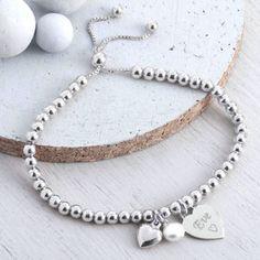 Personalised Sterling Silver Ball Slider Bracelet - bracelets & bangles
