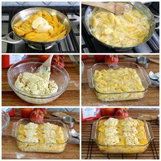 3 ingredient peach cobbler Peaches, vanilla ice cream, self-rising flour