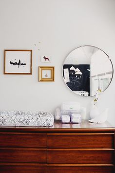 20 Modern Nurseries- I have this dresser so I'm liking the black and white with it