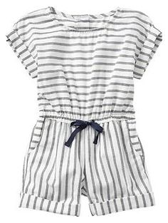 Stripe cuffed romper for baby / toddler | Gap
