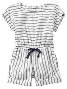 Stripe cuffed romper for baby / toddler   Gap