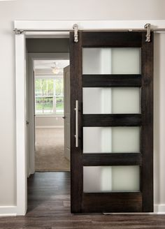 Modern Style Barn Door with Frosted Glass - Mahogany