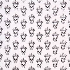 white 'Skulls with Crowns' skull fabric by Timeless Treasures