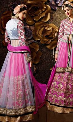 Designer Grey and Magenta Double layer Anarkali Suit-