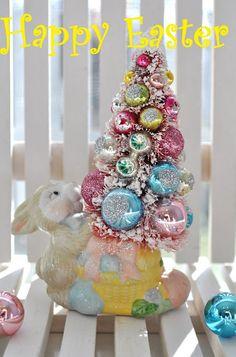 bottle brush tree...Easter bunny