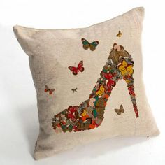 Heeled shoes Butterfly throw pillow for home decoration
