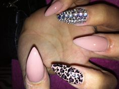 Nails stiletto acrylic shellac cnd Swarovski leopard print by me