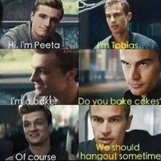 Peeta Mellark and Tobias Eaton talking