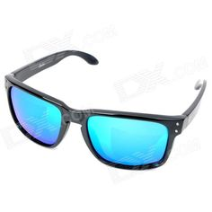 OREKA UV 400 Protection Fashion Resin Lens Polarized Sunglasses - Black + Blue