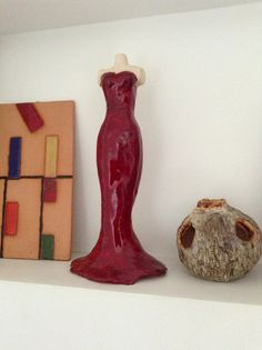 Quadro inspiração Mondrian, Escultura e Vaso em ceramica.