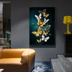 Abstract Butterfly Modern Wall Canvas Art – King Kong Apa-Your Trend Buddy Large Canvas Wall Art, Diy Canvas Art, Abstract Wall Art, Modern Canvas Art, Modern Wall Decor, Home Wall Decor, Living Room Pictures, Wall Art Pictures, Art Mural Papillon