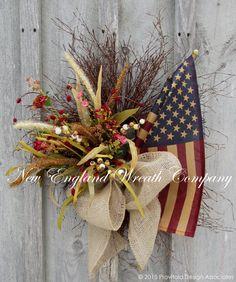 Woodland Meadow Wreath with Tea Stained Flag ~A New England Wreath Company Designer Original~