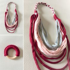 Collares sin cierre - Conjunto Lactancia Trapillo - hecho a mano por LittleMommy en DaWanda T Shirt Yarn, Washer Necklace, Etsy, Crochet, Crafts, Accessories, Baby Showers, Jewelry, Bib Necklaces