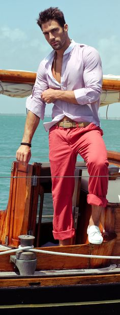 Mens fun fashion colored outfit for that effortless sexy look.  #sexy #sexythang #men #mens #fashion #clothing #clothes #male #guy #guys #salmon #lavender #whiteshoes #effortless #look #looks #trendy #beach   www.gmichaelsalon.com