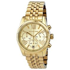 Michael Kors Lexington Chronograph Champagne Dial Gold PVD Ladies... ($128) ❤ liked on Polyvore featuring jewelry, watches, bezel bracelet, analog wrist watch, bezel watches, champagne bracelet and bracelet watches