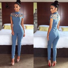 2017 Summer Sexy O-Neck Short Sleeve Jumpsuits Simple Hollow Out Elegant Overalls Rompers Womens Jumpsuit Combinaison Femme Rompers Women, Jumpsuits For Women, Fashion Jumpsuits, Romper Pattern, Long Jumpsuits, Bodysuit Fashion, Jumpsuit With Sleeves, Outfit, Black Outfits