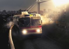 Street, night, truck Trolleybus by Michael Medvedi, via Behance