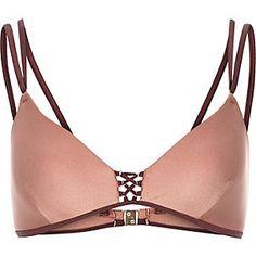 Brown lace-up cami bikini top