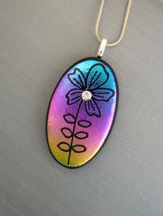 Oval Dichroic Fused Glass Pendant Hand Etched Fused by GlassCat, $25.00
