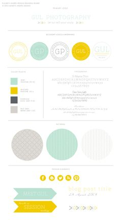 I like the use of arrows on this, the smaller ones. It's also very clean and streamlined as well.    Gul Photography Business Identity, Stamp Logo, Circle Badge, Arrows, Mint, Mustard Yellow, Grey, Charcoal, Stamped, Monogram, Branding Board by Elizabeth Andres Designs in Dubai.