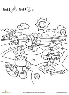Preschool Animals Counting & Numbers Sports Worksheets: Find the Hidden Objects: Baseball Worksheet Preschool Books, Preschool Themes, Preschool Worksheets, Kindergarten Activities, Preschool Math, Summer Activities, Baseball Activities, Find The Hidden Objects, August Themes