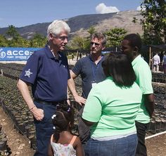 Former President Bill Clinton, and actor Sean Penn, toured a Lime Nursery in Mirebalais, Haiti on Monday, 23 February 2015, as part of a U.S. envoy to the country.