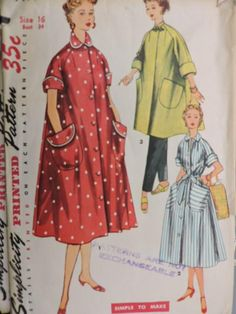Items similar to Vintage Simplicity 4471 Misses I Love Lucy Swing Coat, Robe and Coat Dress Sewing Pattern on Etsy Simplicity Sewing Patterns, Vintage Patterns, Vintage Sewing, Vintage Clothing, Retro Fashion, Vintage Fashion, Halloween Patterns, Collar Pattern, House Dress