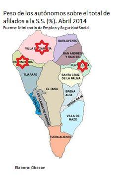 Tres municipios palmeros lideran el peso de trabajadores autónomos en Canarias. Representa el peso de los autónomos sobre el total de trabajadores afiliados en cada municipio.