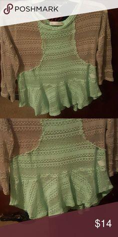 Sweater shirt shirt sleeve never worn Peplum top mint grey see through Tops Blouses