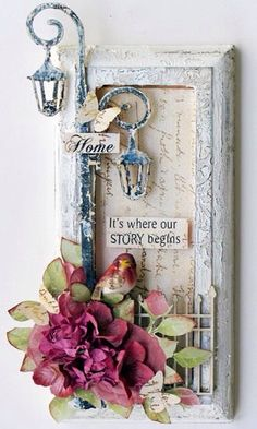 I guess if it's made with a frame, it can be made in almost any size. altered art by jessie- I have a frame that would work well for a project like this. Handmade Crafts, Diy And Crafts, Arts And Crafts, Paper Crafts, Altered Canvas, Altered Art, Altered Boxes, Mixed Media Canvas, Mixed Media Art