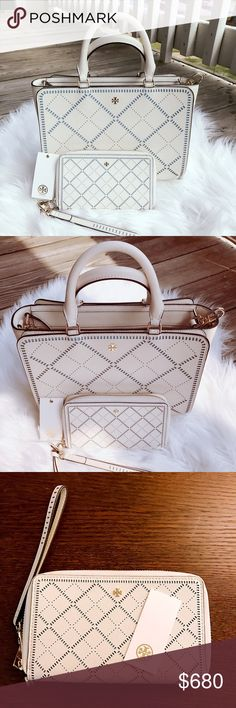 Tory Burch Robinson Crosshatch Satchel Wallet Set Gorgeous Tory Burch Robinson Crosshatch Satchel and matching wallet set💕 wallet is NWT, Satchel is in like new condition with adjustable strap. No defects at all. Color is ivory😻 Tory Burch Bags