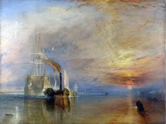 The Fighting Temeraire tugged to her last Berth to be broken up, 1838 by the English artist J. M. W. Turner, 1839.
