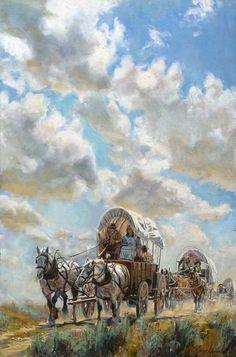 Fine Art by Artist Jeremy Winborg Westerns, Mary Cassatt, Covered Wagon, West Art, Cowboy Art, Cow Girl, Le Far West, Mountain Man, Horse Art