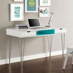 Walker Edison 48 in. Color Accent Computer Desk - If you're craving just a pop of color, the Walker Edison 48 in. Color Accent Computer Desk is exactly what you need. This sleek, contempor. White Desk Office, Blue Office, Office Table, Small Office, Home Office Furniture, Home Office Decor, Home Decor, Furniture Nyc, Mid Century Modern Desk