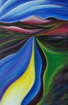 Road to Taos painted by Jan Ketza, Rio Grande River north of Santa Fe NM