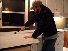 Guide to re-laminating kitchen counter tops; use when putting new laminate on our old dinette set.