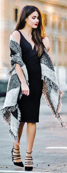 With A Statement Fringed Wool Scarf A Little Black Dress And Multi Strap Heels   Sarah Styles Seattle