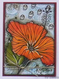 Caro's Welt: Tausch- ATCs * Blumen* using Designs by Ryn: Water Effects and Hibiscus stamp designs