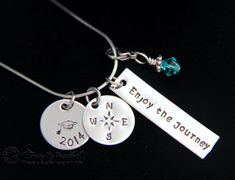 Enjoy The Journey Unique Graduation Gift-2014 Grad Personalized Hand Stamped Jewelry Necklace-Class of 2014-High School Graduate by PrettyByPriscilla