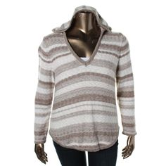 Style & Co. Womens Plus Striped Hooded Pullover Sweater