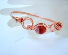 Bracelet  Copper and Carnelian Bangle  Simple by CrookedCrystal, $14.99