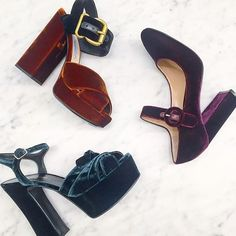 Three's a trend: velvet touch. Tap image for designer details, shop with link in profile.