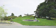 Flytende flyvende er et minnesmerke etter vikingen Leiv Eiriksson. Siden 1997 har kunstverket preget plassen ved Krambuveita som nå har fått navnet Elsa Laula Renberg plass. På grunn av tekniske utfordringer, byggearbeider og endringer i byrommet er nå skulpturen på flyttefot. Trondheim, Baseball Field, Golf Courses, Sculpture, Voyage, Kunst
