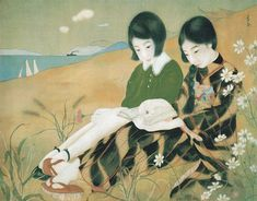 """heaveninawildflower: """" 'Two Girls By the Sea' ( mid-1920s) signed 'Kafu'. Silk painting. Honolulu Museum of Art. Source - Brown, Kendall H. Brown and Sharon A. Minichiello, Taishō Chic: Japanese..."""