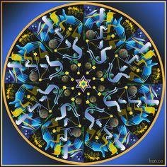 """caleidoscopio """"notte"""", lettere ebraiche. Computer graphics"""