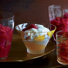 This light and refreshing parfait features layers of meringue with silky lemon curd, topped with delicious whipped cream and fresh raspberries from Food & Wine