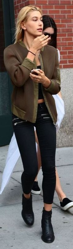 Hailey Baldwin Brown And Black Fall Outfit Idea by Stellawantstodie