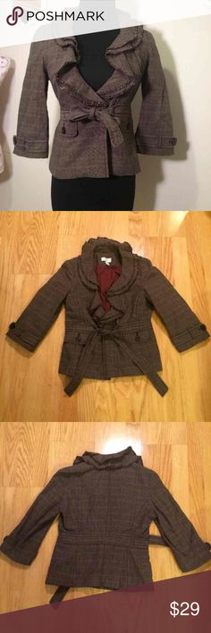 Ann Taylor Loft, brown tweed blazer, Size 00P Ann Taylor Loft, brown tweed blazer. Cute ruffle detailing around the neck & down, tie around the wait. Size 00P Ann Taylor Jackets & Coats Blazers